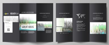 The black colored minimalistic vector illustration of the editable layout of two creative tri-fold brochure covers. Design templates. Rows of colored diagram Stock Photography