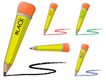 Black and colored pencils Stock Photography