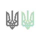 Black and colored pixel art ukrainian emblem. Concept of blazonry, symbolism, 8-bit icon, heraldry, adornment. isolated on white background. flat style trend Stock Photo