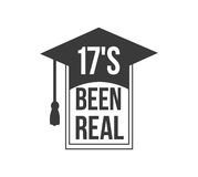 Black colored 17s been real text sign with the stars vector illustration. Logo badge 17s been real label for graduating senior class 2017, in black isolated Stock Photos