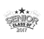 Black colored senior class of 2017 text sign with the stars vector illustration.  Royalty Free Stock Photos