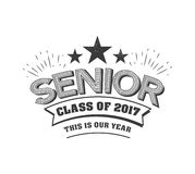 Black colored senior class of 2017 text sign with the stars vector illustration.  Stock Images