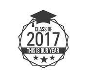 Black colored senior class of 2017 text sign with the stars vector illustration. Logo badge best class ever label for graduating senior class 2017, in black Royalty Free Stock Image