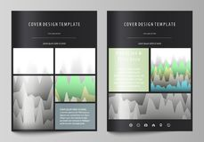 The black colored vector illustration of the editable layout of A4 format covers design templates for brochure, magazine. Flyer, booklet. Rows of colored Stock Photography