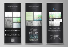 The black colored vector illustration of the editable layout of roll up banner stands, vertical flyers, flags design Royalty Free Stock Images