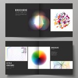 The black colored vector illustration of layout of two covers templates for square design bifold brochure, flyer. The black colored vector illustration of Stock Photo