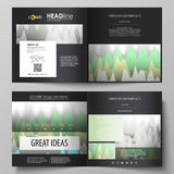 The black colored vector illustration of the editable layout of two covers templates for square design brochure, flyer. Booklet. Rows of colored diagram with Royalty Free Stock Photography