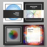 The black colored vector illustration of layout of two covers templates for square design bifold brochure, flyer. The black colored vector illustration of Royalty Free Stock Image