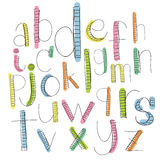 Black colorful alphabet lowercase letters.Hand drawn written  Stock Images