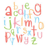 Black colorful alphabet lowercase letters.Hand drawn written wit Stock Images