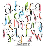 Black colorful alphabet lowercase letters.Hand drawn written wit Stock Photo