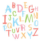 Black colorful alphabet uppercase letters.Hand drawn written wit Stock Photography