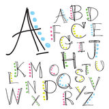 Black colorful alphabet uppercase letters.Hand drawn written wit Royalty Free Stock Photography
