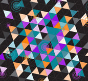 Black colorful triangles. Abstract geometric background with bright triangles on black royalty free illustration