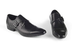 Black colour leather shoes royalty free stock photography