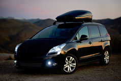 Black colour Peugeot 5008 outdoors Stock Image
