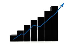Black column graph showing growth Stock Photo