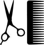 Black comb and scissors icon, simple style. Comb and scissors icon, simple style Royalty Free Stock Images