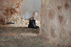 Black combat boots bride Stock Photography
