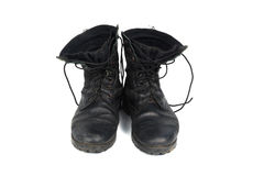 Black combat men boot, isolated on white background Royalty Free Stock Photography