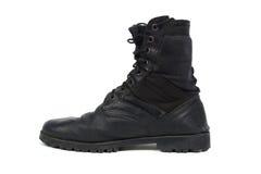 Black combat men boot, isolated on white background Royalty Free Stock Photo
