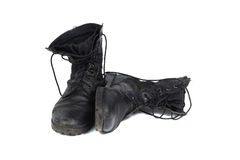 Black combat men boot, isolated on white background Royalty Free Stock Image