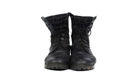 Black combat men boot, isolated on white background Royalty Free Stock Photo