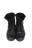 Black combat men boot, isolated on white background Stock Images