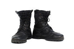 Black combat men boot, isolated on white background Royalty Free Stock Images
