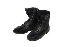 Black combat men boot, isolated on white background Stock Image