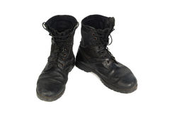 Black combat men boot, isolated on white background Stock Photos