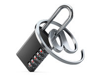Black combination padlock with login and internet symbol on a wh Stock Image