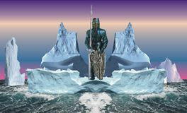 Black commander of a squadron of icebergs Royalty Free Stock Photo