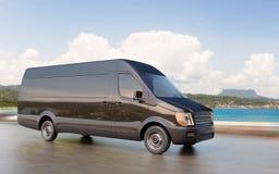 Black Commercial Van on Coastal Road Motion Blurred 3d Illustration. Concept Stock Photos