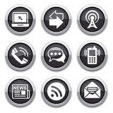 Black communication buttons. Black Communication shiny buttons for design Stock Photos