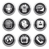 Black communication buttons. Black Communication shiny buttons for design Royalty Free Stock Images