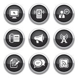 Black communication buttons. Black shiny communication buttons for design Stock Images