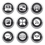 Black communication buttons. Black shiny communication buttons for design Royalty Free Stock Photo