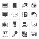 Black Communication and connection technology icons. Vector icon set Stock Images