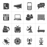 Black Communication, connection  and technology icons. Vector icon set Royalty Free Stock Photography