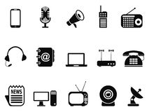 Black communication device icons set Stock Photography