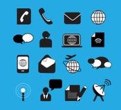 Black communication icons Royalty Free Stock Image