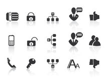 Black Communication icons Royalty Free Stock Photo