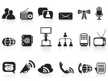 Black communication icons set Stock Photos