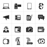 Black Communication and Technology icons. Vector Icon Set Royalty Free Stock Image