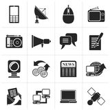 Black Communication and Technology icons. Vector Icon Set Stock Photography