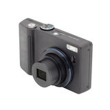 Black compact digital camera. Royalty Free Stock Photo