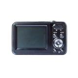 Black Compact Digital Camera. LCD of black compact digital camera on white background Stock Image