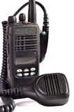Black compact professional portable radio set. Royalty Free Stock Photo