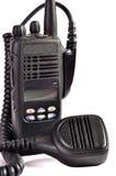 Black compact professional portable radio set. Royalty Free Stock Photo
